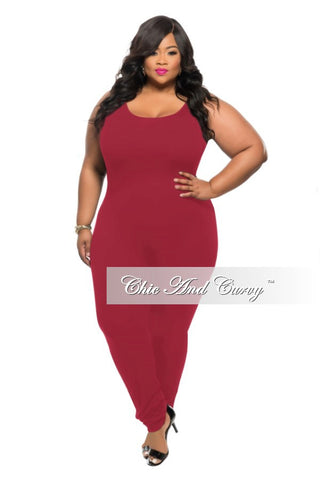 New Plus Size Jumpsuit with Connected Sleeves in Red – Chic And Curvy