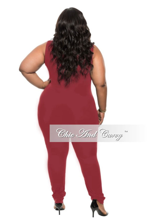 Final Sale Plus Size Sleeveless BodySuit in Burgundy