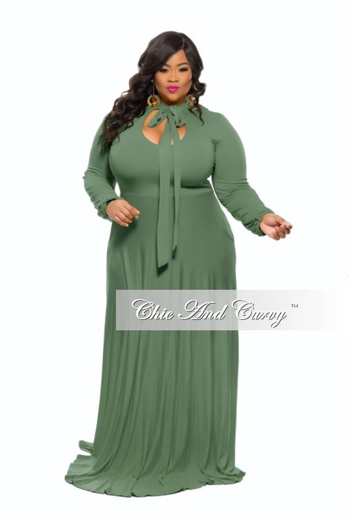New Plus Size Long Dress with Long Sleeve with Neck Bow Tie in  Dark Green