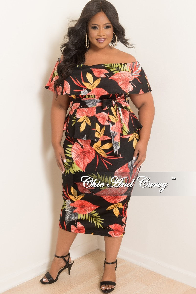 New Plus Size 2-Piece Off the Shoulder Overlay Top and Skirt Set in Black Green Orange Gray and Red Leaf Print
