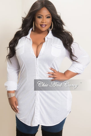 56e3c021e6 Final Sale Plus Size Collar Button-Up Top with Front Pockets in White