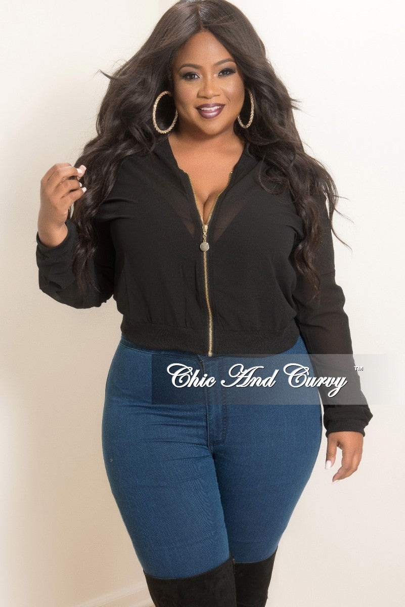 bb9a9c39358 Final Sale Plus Size Mesh Bomber Jacket in Black – Chic And Curvy