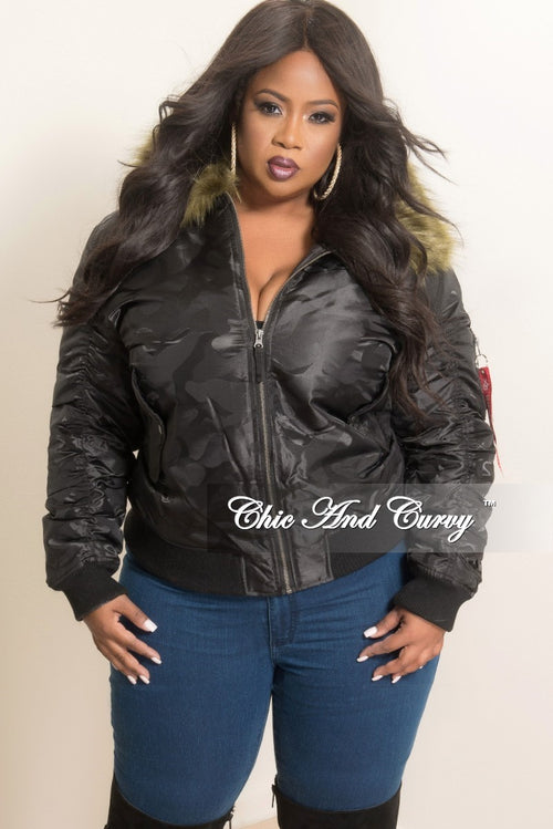 New Plus Size Bomber Jacket with Faux Fur Trim in Black Camouflage Print