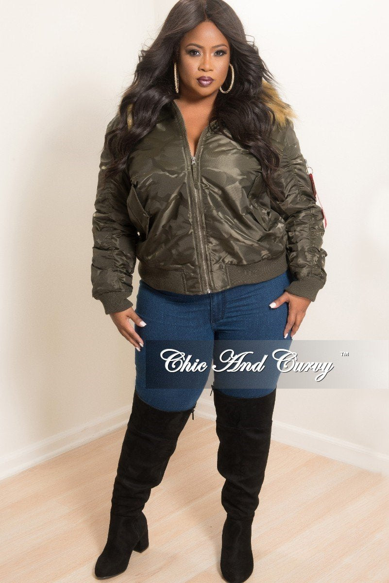 New Plus Size Bomber Jacket with Faux Fur Trim in Camouflage Print