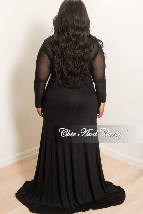 New Plus Size Long Light Weight Maxi Skirt in Black