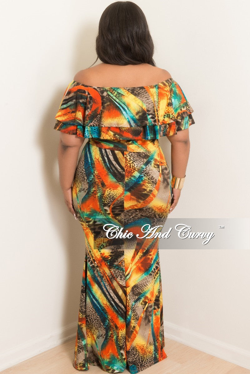 New Plus Size 2-Piece Ruffle off the Top and Long Skirt Set in Multi Color Print