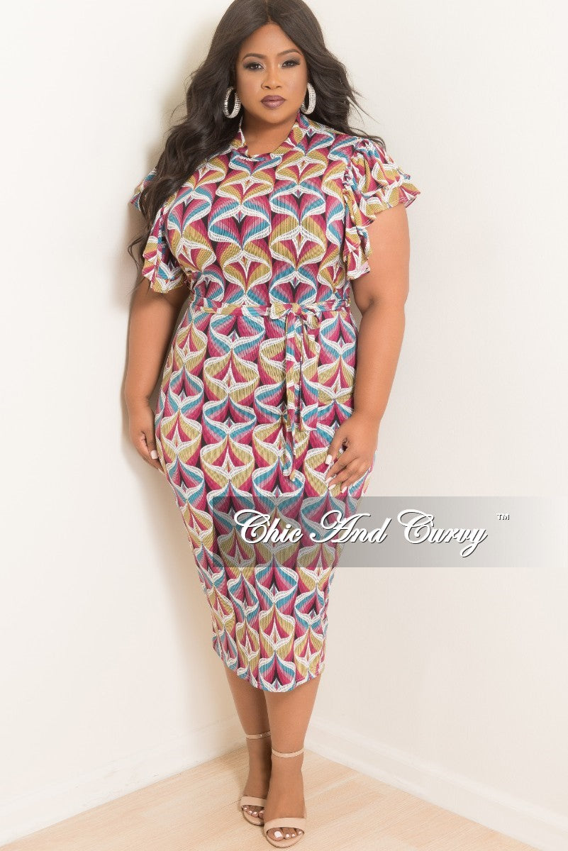 Final Sale Plus Size BodyCon Dress with Ruffle Sleeves and Back Gold ...