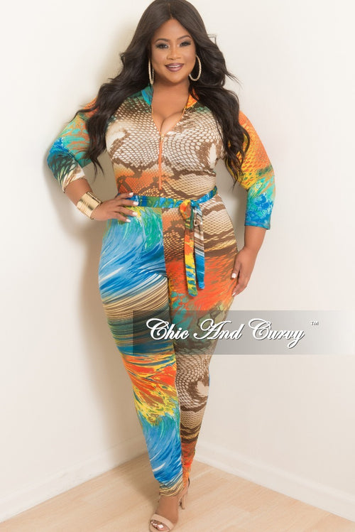 New Plus Size Zip-Up Jumpsuit with Attached Tie in Multi Color Snake Skin Print