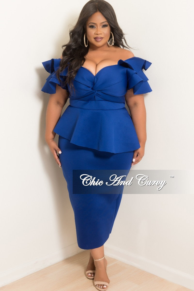 Final Plus Size Peplum Dress with Ruffle Sleeves and Back Slit in Royal  Blue Scuba