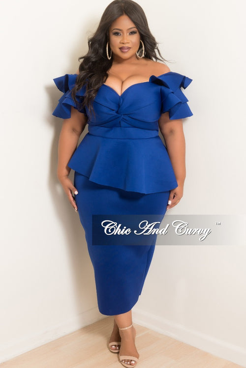 6c4146d2c8ab Final Plus Size Peplum Dress with Ruffle Sleeves and Back Slit in Royal  Blue Scuba