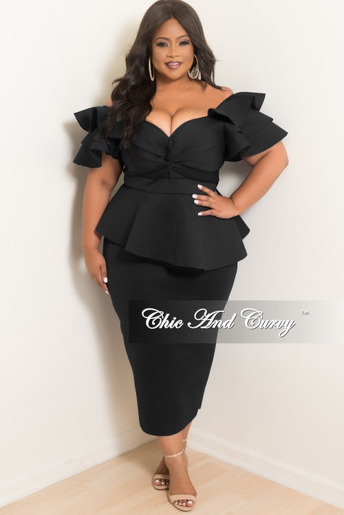 Final Plus Size Peplum Dress with Ruffle Sleeves and Back Slit in Black Scuba