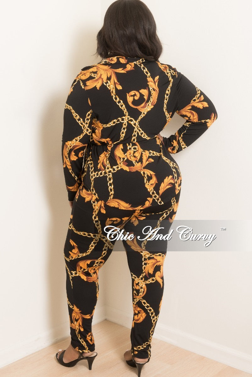 New Plus Size 2-Piece Lounge Set with Tie in Black and Gold Chain Print