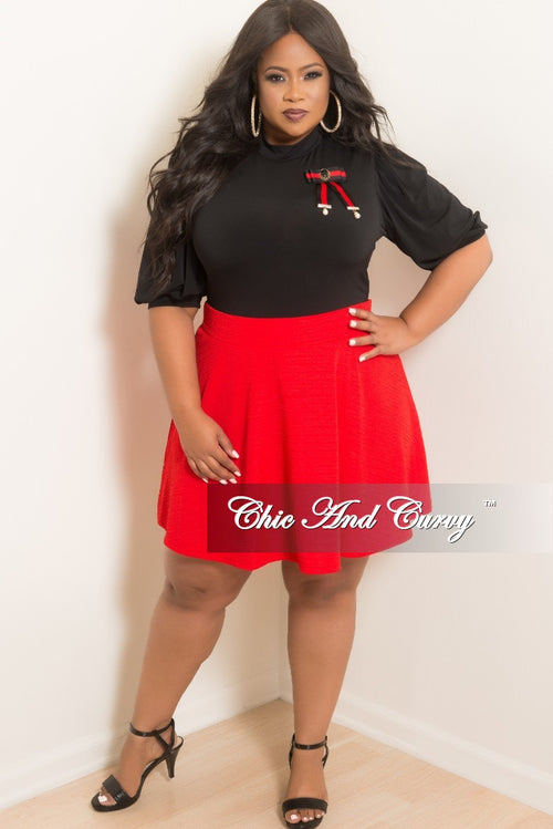 Final Sale Plus Size Flare Skirt in Red Textured Fabric