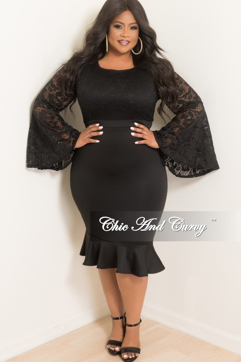 New Plus Size Lace BodyCon Dress with Bell Sleeve and Ruffle Bottom in Black