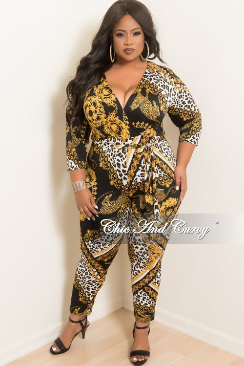 New Plus Size Faux Wrap Jumpsuit with Attached Tie in Black Gold and White