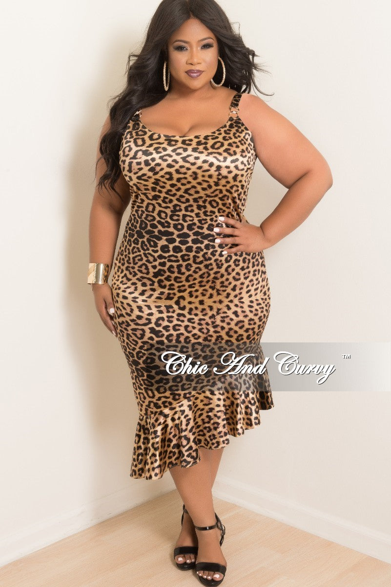 New Plus Size Spaghetti Strap BodyCon Dress with Ruffle Bottom in Cheetah Print