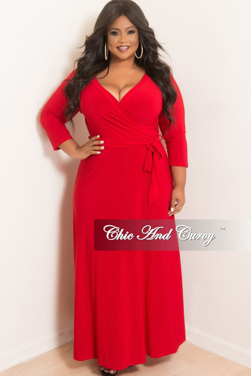 Final Sale Plus Size Faux Wrap Maxi with 3/4 Sleeve and Attached Tie in Red