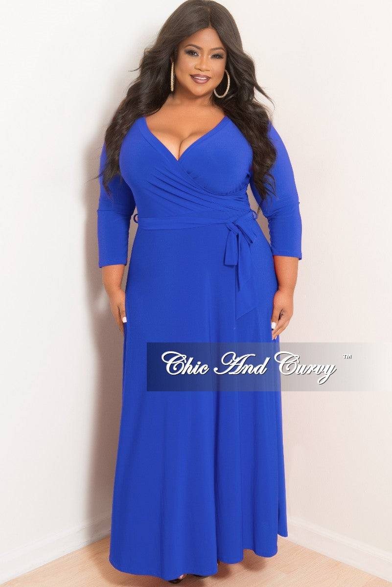 098e27cbdcd New Plus Size Faux Wrap Maxi with 3 4 Sleeve and Attached Tie in Royal –  Chic And Curvy