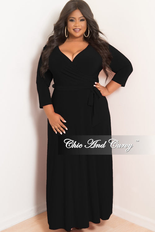 Final Sale Plus Size Faux Wrap Maxi with 3/4 Sleeve and Attached Tie in Black