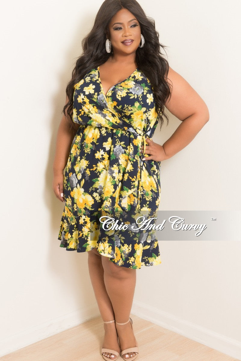 New Plus Size Sleeveless Faux Wrap Ruffle Dress in Navy Yellow and Green Floral Print