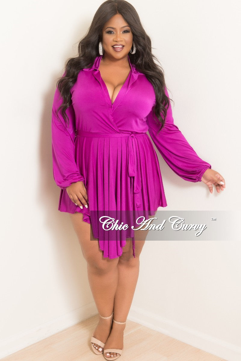 efba4b0d8fd Final Sale Plus Size Collar Faux High-Low Dress in Purple – Chic And Curvy