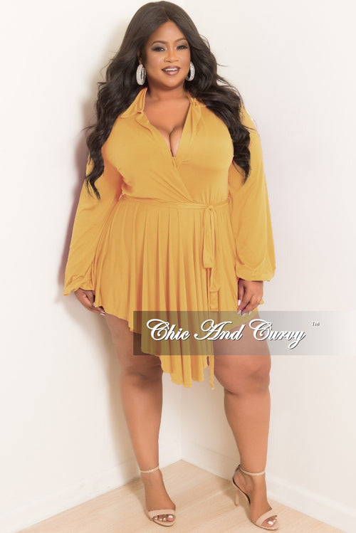 Final Sale Plus Size Collar Faux High-Low Dress in Mustard