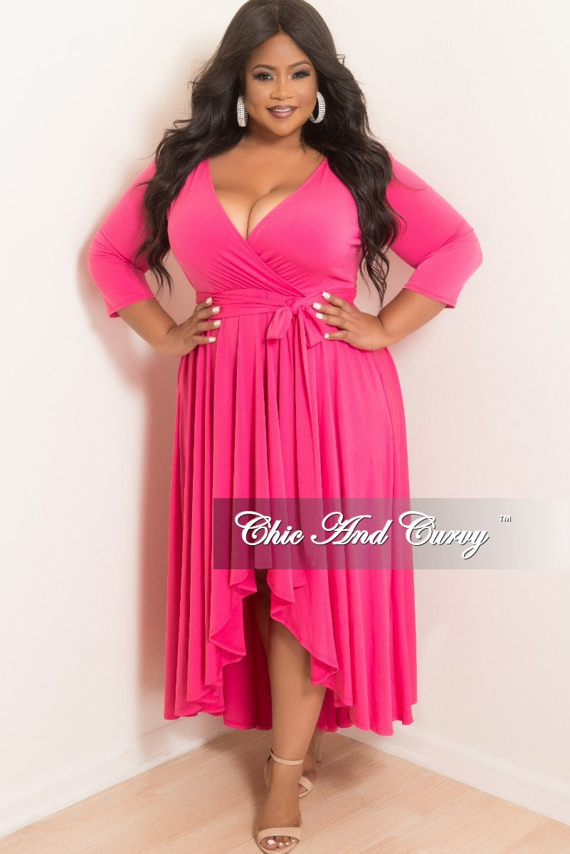 7447a863a68 New Plus Size Faux Wrap High-Low Dress with Attached Tie in Hot Pink – Chic  And Curvy