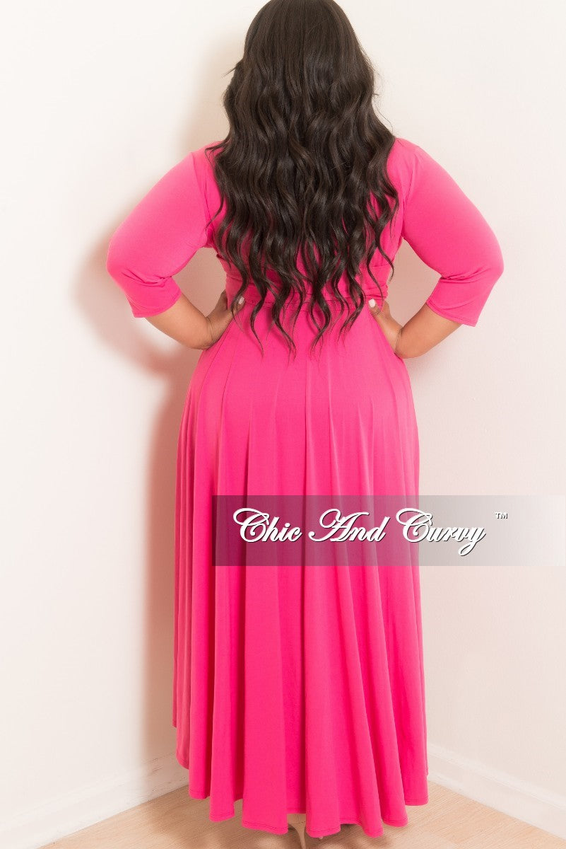 New Plus Size Faux Wrap High-Low Dress with Attached Tie in Hot Pink