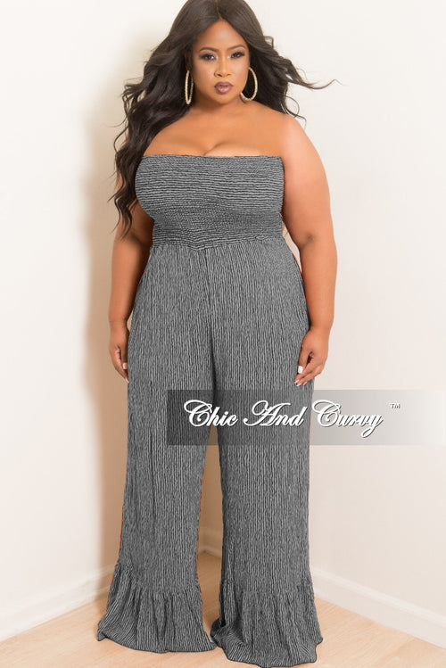 New Plus Size Pinstripe Strapless Jumpsuit with Ruffle Bottom in Grey and Black