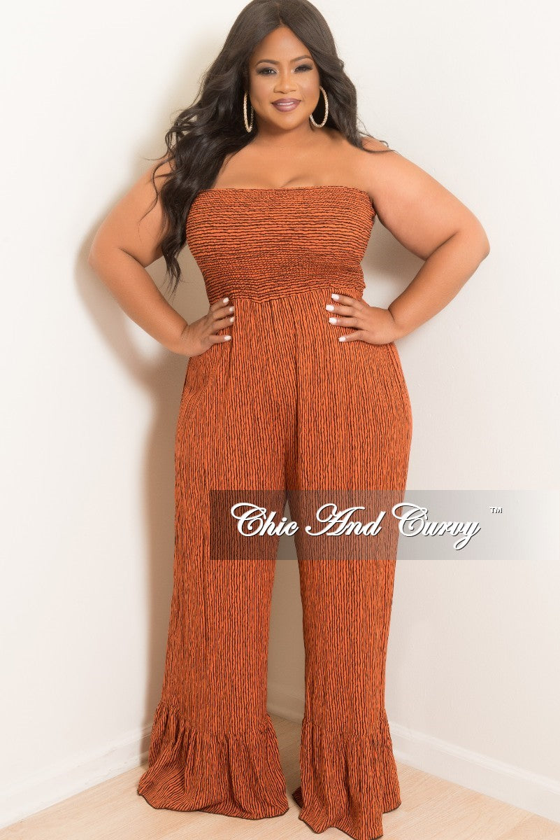 Final Sale Plus Size Pinstripe Strapless Jumpsuit with Ruffle Bottom in Orange and Black
