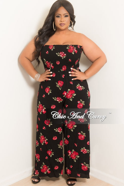 New Plus Size Strapless Loose Fitted Jumpsuit with Attached Tie in Black Floral Print