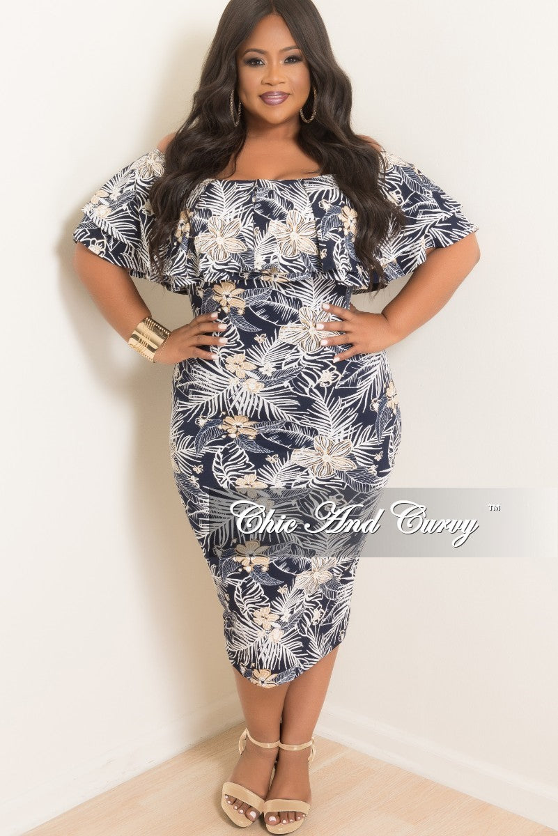 New Plus Size Off the Shoulder BodyCon Ruffle Dress in Navy White and Tan Flower Print
