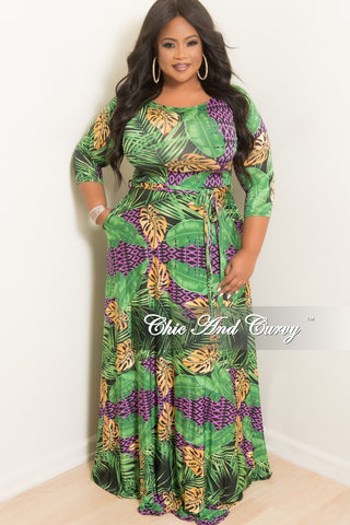 New Plus Size Faux Wrap Dress With Tie and Side Slit in Black White and Gold Print