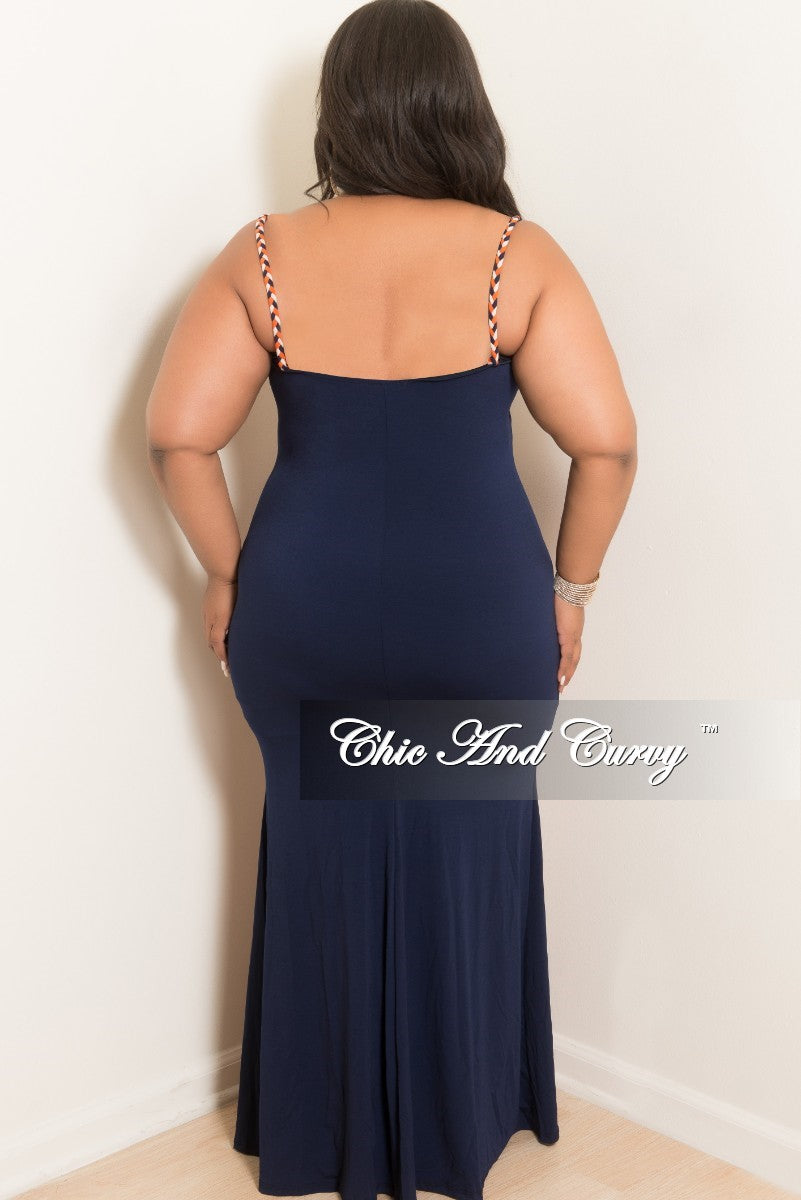 Final Sale Plus Size Spaghetti Strap BodyCon Long Dress in Navy, Cream and Orange