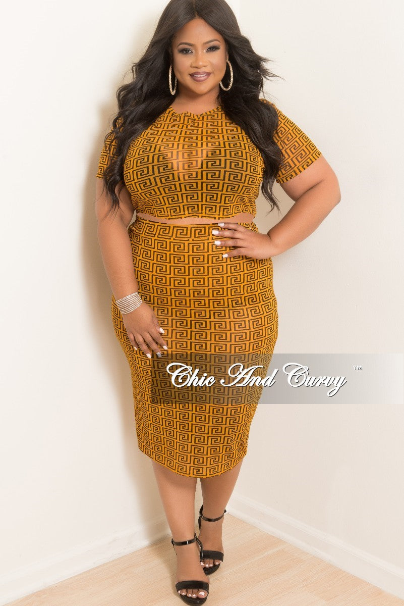 Final Sale Plus Size Mesh Crop Top and High Waist Skirt Set in Dark Mustard and Black Maze print