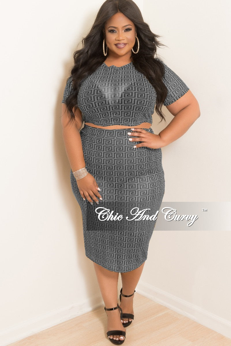 Final Sale Plus Size Mesh Crop Top and High Waist Skirt Set in Grey and Black Maze print