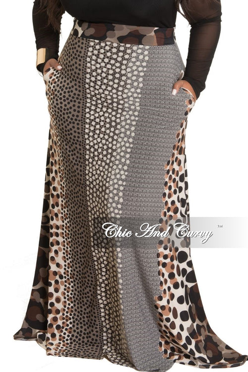 New Plus Size Long Maxi Skirt in Black Ivory Brown and Grey Polka Dot Print