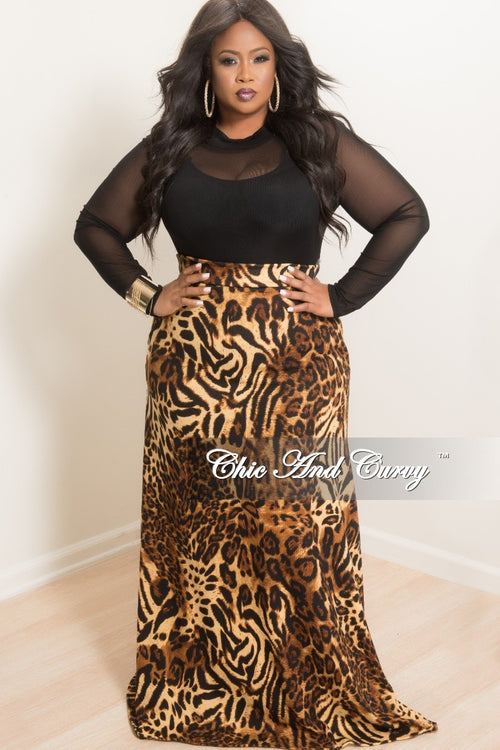New Plus Size Long Knit Maxi Skirt in Animal Print