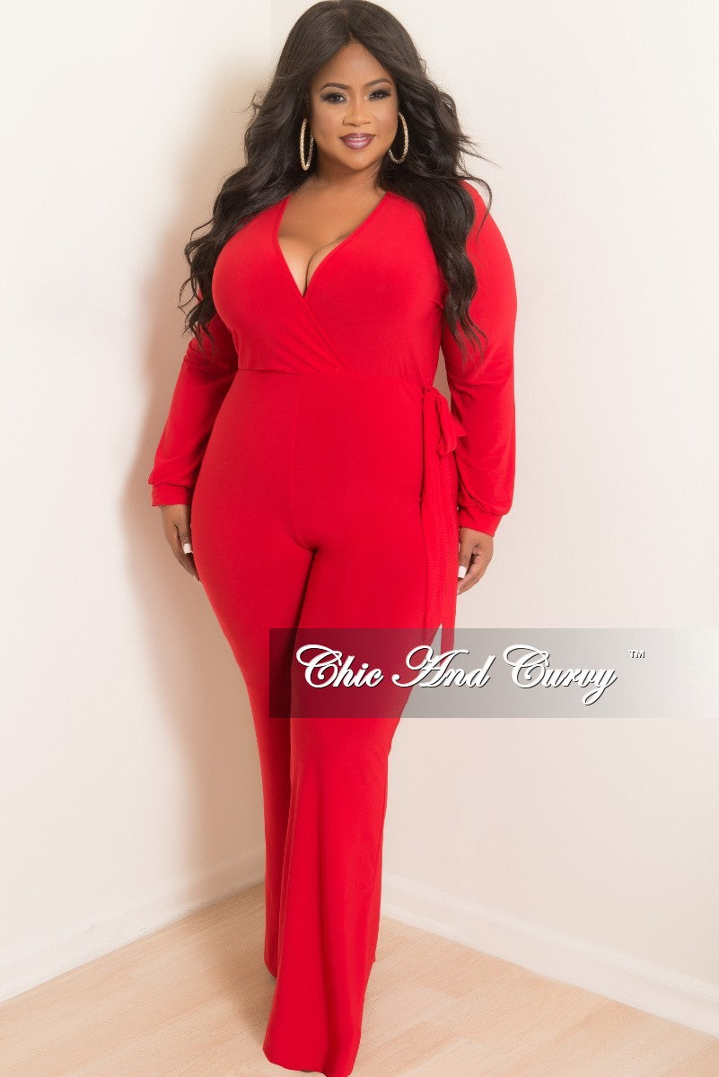 cfd0318f77d Final Sale Plus Size Long Sleeve Faux Wrap Jumpsuit with Attached Tie – Chic  And Curvy
