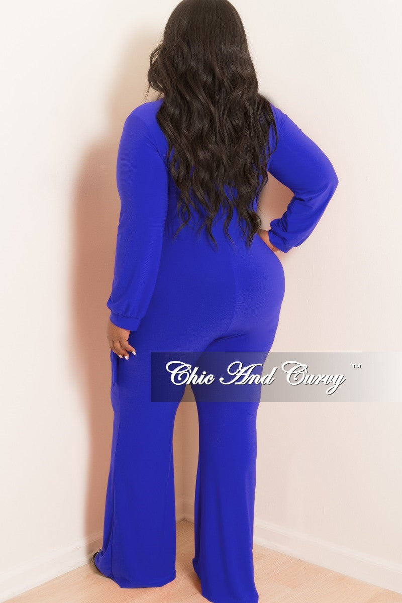 New Plus Size Long Sleeve Faux Wrap Jumpsuit with Attached Tie in Royal Blue