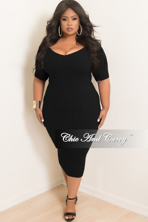 8ad8f14fc028 Final Sale Plus Size Off the Shoulder BodyCon Dress in Black Ribbed Fabric