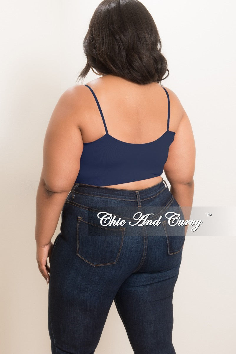 Final Sale Plus Size Spaghetti Strap Bralette in Navy
