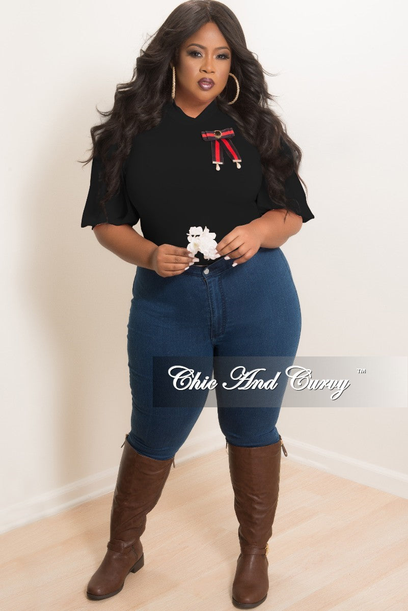 New Plus Size Bodysuit with Detachable Brooch in Black