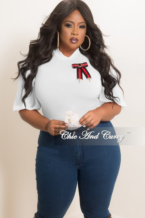 Final Sale Plus Size Bodysuit with Detachable Brooch in White