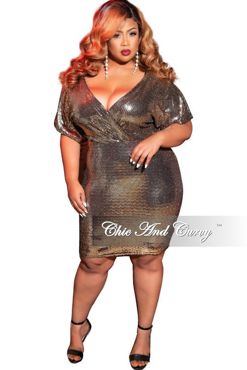 Final Sale Plus Size Faux Wrap Faux Sequin BodyCon Dress in Gold
