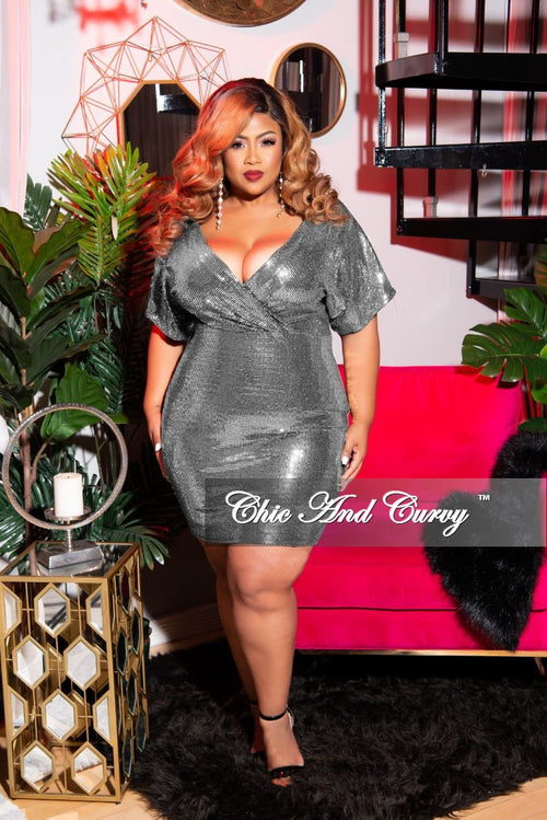 Final Sale Plus Size Faux Wrap Sequin BodyCon Dress in Silver