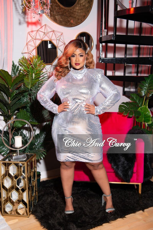 Final Sale Plus Size Long Sleeve Mock Neck BodyCon Dress in Silver Grid Foil Print