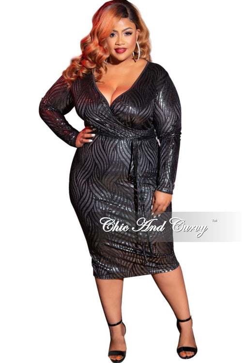 Final Sale Plus Size Faux Wrap BodyCon Tie Dress in Black and Silver Foil Design Print