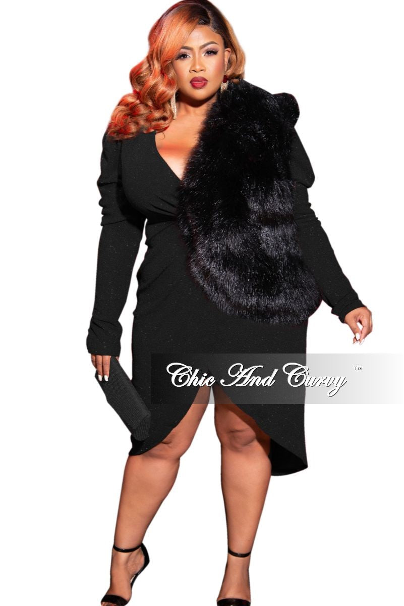 Final Sale Plus Size Long Sleeve Glitter Faux Wrap BodyCon Dress in Black
