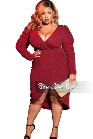 Final Sale Plus Size Cap Sleeve Gown with Asymmetrical Ruffle Peplum in Black